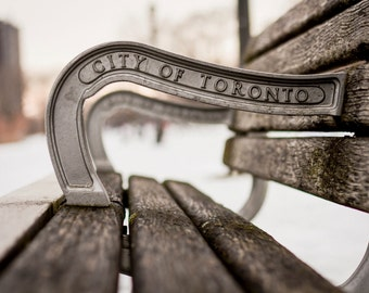 Travel, Fine Art Print,  Photo, Toronto, Photography Art Print, Home Decor, City Park Bench, Canadian Art