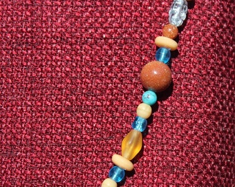 Goldstone and teal necklace