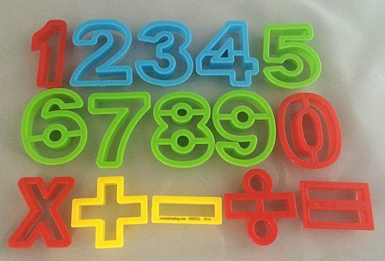 Set of 15 numbers math equations cookie or dough cutters for Playdough letter cutters