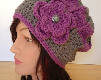 Womens Hat with Flower, Crochet Classic Beanie, Hat, Beret Winter Fashion Accessories with removable flowers.