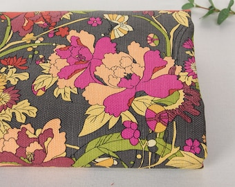 150cm / 59 inch Width, Japanese Style - Colorful Flower Floral 18oz Thick Linen Cotton Canvas Fabric, Half Yard, #711