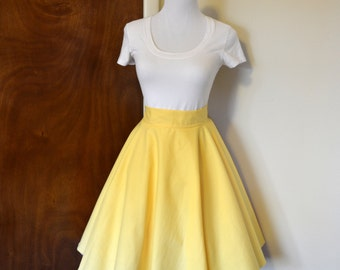 Light Lemon Yellow Homemade Circle/Swing Skirt