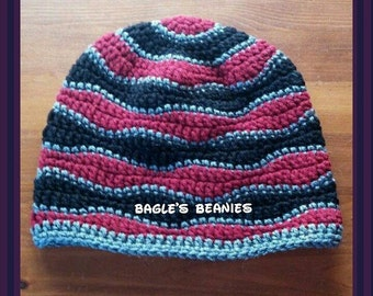 Crochet Waves Beanie--Sizes Child & Adult