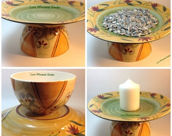 Stoneware Bird Feeder Garden Decor Planter Handpainted Platter Serving Bowl Candle Pedestal