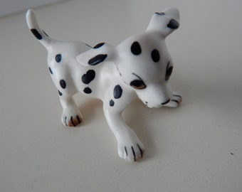 Porcelain Dalmation Dog Puppy Minature Figurine - Playful Pose - Marked M688 - Made in Japan - Vintage 1970's Dog Collectible