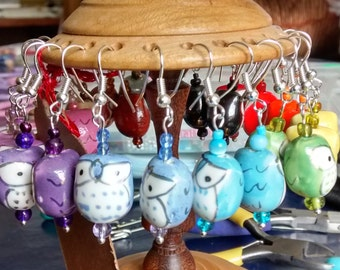 Owl earrings - handmade drop earrings, many colours of ceramic owl - ready to ship