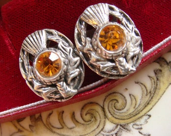 Vintage 1970s Golden Scottish Thistle Earrings, Pewter & Rhinetstones, Great Cond. Beautiful! Vintage jewellery.