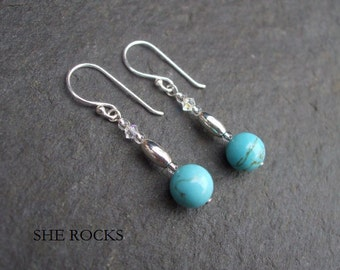 Turquoise drop earrings, Sterling Silver December Birthstone gift Turquoise bead earrings Silver Turquoise jewelry real honeymoon jewellery