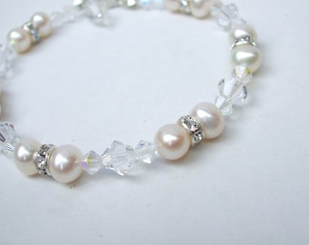Freshwater pearl and Swarovski wedding bracelet with diamante Swarovski crystals Sterling Silver pearl bridal jewelry bridesmaid jewellery
