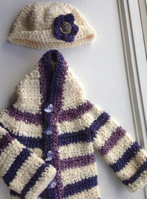 Baby Girl Homespun Crochet Sweater & Hat Set by ...