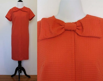 Vintage 1960s Orange Shift Dress with Bow