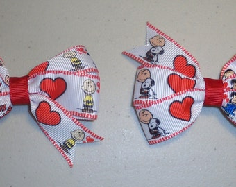 Charlie Brown Valentines Pigtail Bow Set