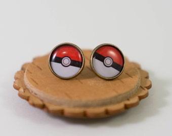 Pokemon Pokeball Earrings - Red, Black and White Pokeball Earrings