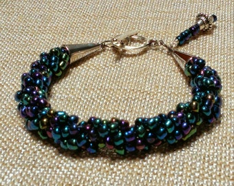 midnight bracelet (x-large): hand woven spiral rope of glass beads