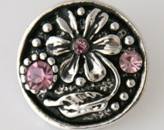 KB7517  Pink Crystal and Antiqued Silver Flower