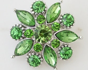 KB8658  Beautiful LARGE Green Crystal Flower