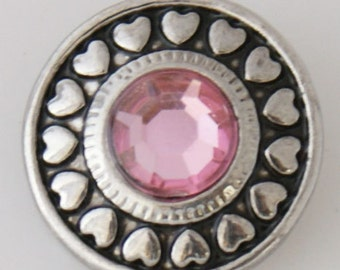 KB7744  Faceted Pink Crystal Charm Surrounded by Hearts