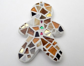 Christmas Ornament, Mosaic Gingerbread Boy, Handmade Stained Glass Mosaic Ornament