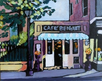Original Art Painting, Acrylic Painting, Original Art, Cafe Painting, New Orleans Art  8 in x 10 in x 1.5 in