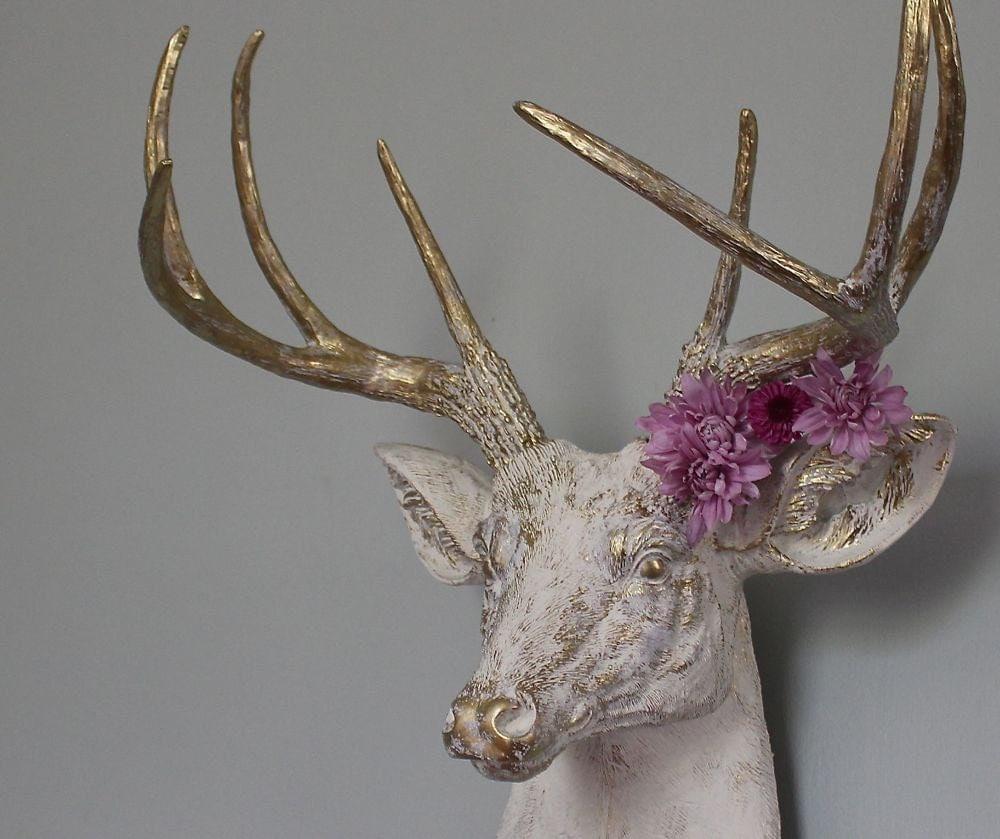 Faux taxidermy deer stag buck head wall decor by mysecretlite for Animal head wall decoration