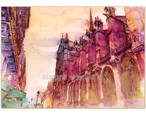 In the streets of Paris - LIMITED PRINT only 25 pieces worldwide! HANDSIGNED fine art print from watercolor (architecture church Notre Dame)