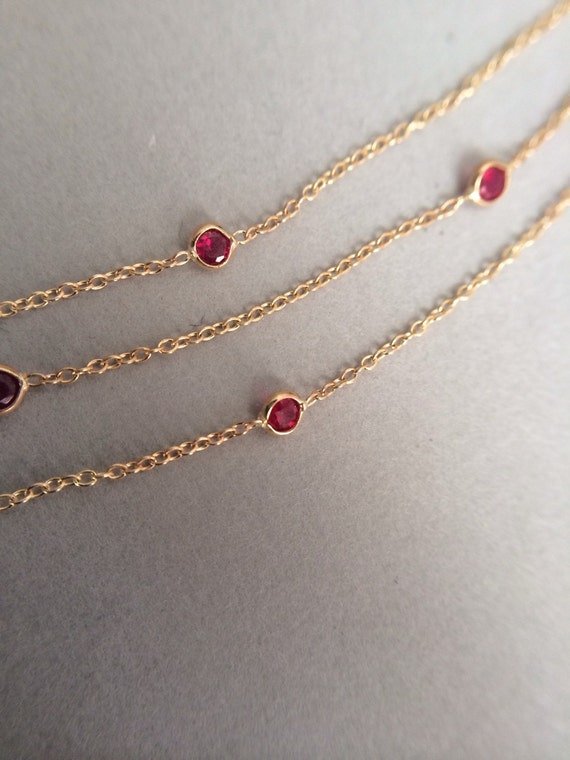 Genuine Ruby Necklace Ruby Station Necklace Solitaire Necklace