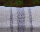 Vintage Hungarian grain sack in slubby, oatmeal linen with mauve/lilac stripes