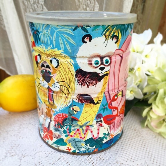 Vintage folgers jungle animal tin canister circus elephant for Classic jungle house for small animals
