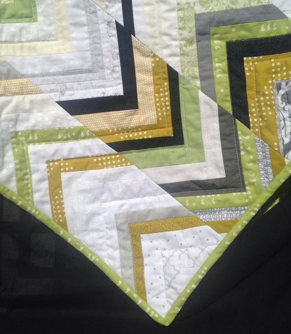Modern Chevron Baby Quilt with Green Gold Black Grey