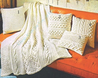 Chunky yarn Blanket with Aran Panels / Afghan and 4 styles of Aran Cushions various sizes -  Vintage Knitting pattern - PDF Instant Download