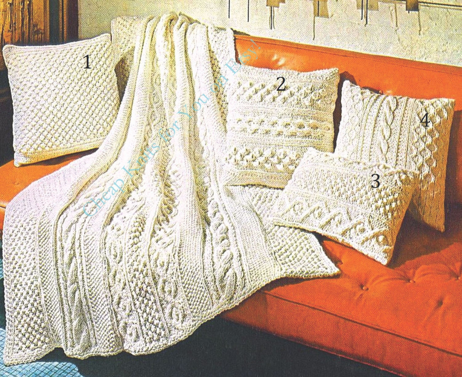 Chunky yarn Blanket with Aran Panels / Afghan and 4 styles of