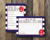 Navy and Red Nautical Baby Shower - Instant Download Printables - Nautical Baby Shower - Red and Navy Baby Shower - Nautical Wishes for Baby