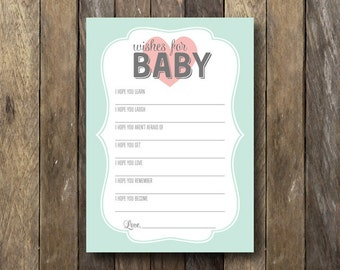 Baby Shower Wishes For Baby - Wishes for Baby Printable - Baby Shower Wishes - Wishes for Baby Card - Instant Download Baby Shower Printable
