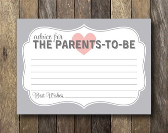 Parents to Be Advice Card - Printable Baby Shower Advice - Advice for the Parents to Be - Baby Shower Advice Cards - Printable Advice Card