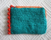 knitted turquoise zipper bag with cotton fabric lining