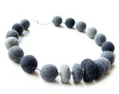 Felted necklace felt necklace felted beads felt beads grey necklace necklace grey beads spring necklace