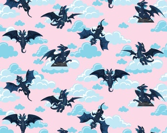 Knit Soaring Dragons Light Pink by Made Whimsy