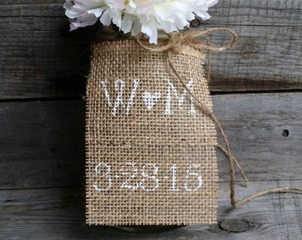 Personalized Burlap Wedding Table Tags, Rustic Wedding Decor, Burlap Table Tags, Mason Jar Burlap Tags, Burlap Centerpieces, Set of 10