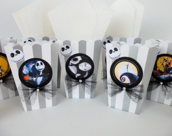 Nightmare Before Christmas Inspired Popcorn box.. Party Favor  Sweet Table Candy and Snacks..SET OF 10.