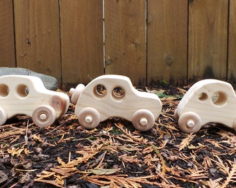 Wood Toy Car-Set of Three,Handcrafted,Push Pull Toy