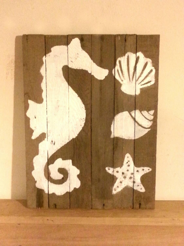bathroom or beach house decor seahorse shells by upcycledfarm