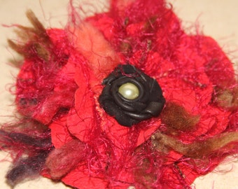 Red corsage, quirky lagenlook red leather & wool pin, handmade red flower, red flower brooch, shabby look corsage, pearl rose made by Ruby62