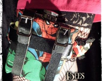 Ladies Leg Garter and Hip Flask 6oz - Spiderman - Wedding Burlesque Rockabilly Cosplay