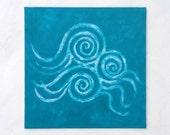 Aqua Canvas Art, 12 x 12 Abstract Painting, Spirals, Sea Swirls, Nordic Ocean, Australian Art, Elizabeth Ellenor