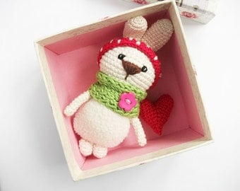 Miniature white rabbit with red hart  /Tiny crocheted bunny / soft cute crocheted toy / Amigurumi  / Cute stuffed animal/ baby gift