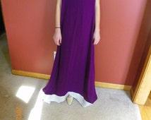 Ladies Long chiffon Purple dress, pants and shal pakistan suit  size S