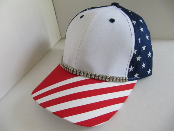 hat womens hats 4th of july hat striped hat bling