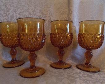Vintage Set Of Four Dark Amber Pedestal Goblets.