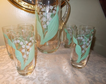 Set of Six Glasses With Pitcher