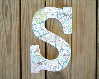 Map Letter - 3D Map Letters - Map Covered Letter - Alphabet Letter - Wall Letters - Customized Map Gift - Wedding Gift - Gallery Wall Decor